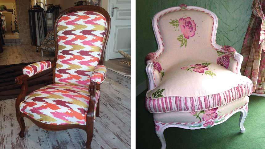 Réfection et confection sièges anciens, tous styles, décorateur Orléans 45