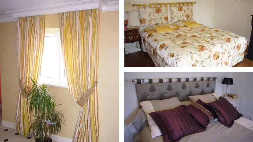 Rideaux avec finition en tête flamande repiquée façon tapissier (sans ru-flette) ou en tête à œillets, de nombreuses gammes de tringles au Décor et Maison sur Orléans.
